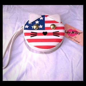 Betsey Johnson Cat Flag Coin Purse NWT